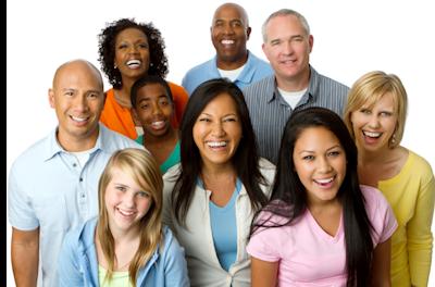 happy adults multi ethnic